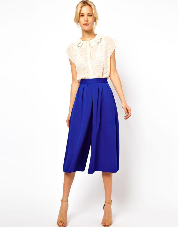 Asos Culottes in Blue (cobalt) | Lyst