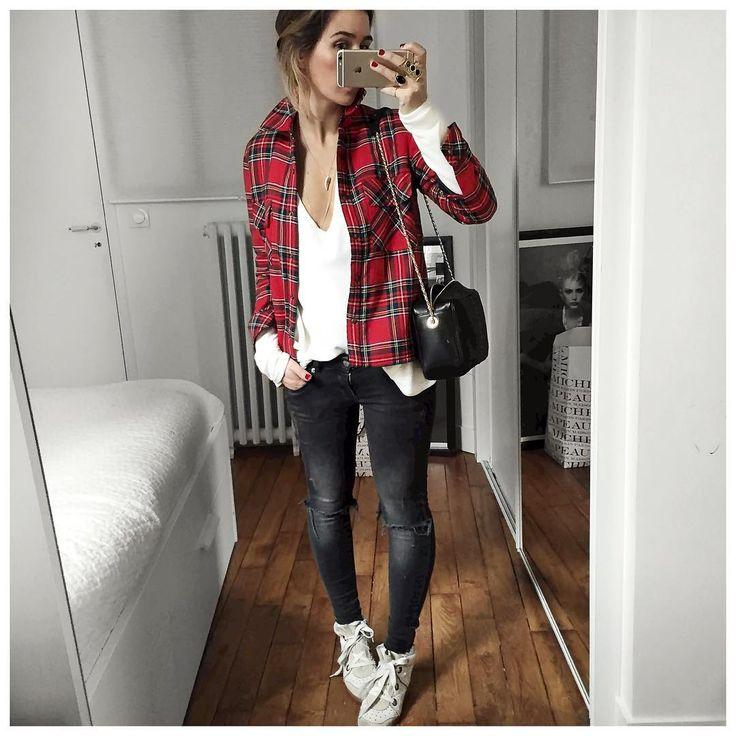 """""""Un peu de couleur sur une base noire et blanche ⚫️⚪️❤️ Ps : Chemise prise en taille 38 pour celles qui me l'ont demandée! • Wool Shirt #roseanna (from…"""""""