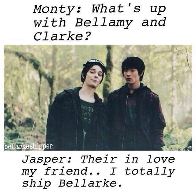 Jasper ships it #the100 #bellarke Jasper Jordan (Dev Bostick) and Monty Green (Chris Larkin) #jonty