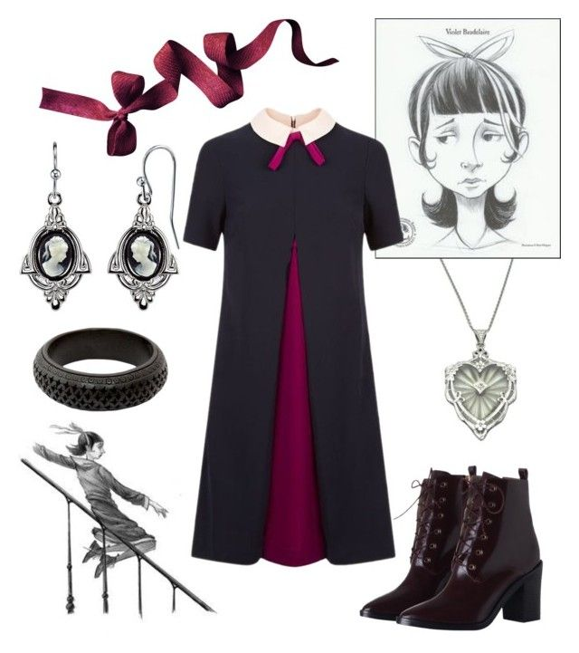 """Violet Baudelaire from A Series of Unfortunate Events by Lemony Snicket"" by vicipokemon ❤ liked on Polyvore featuring 1928, Ted Baker, Zimmermann and NOVICA"
