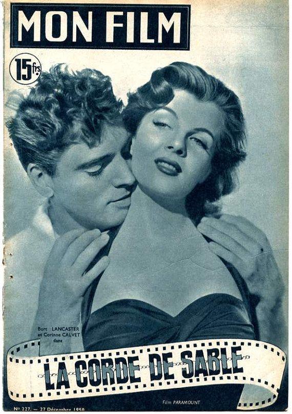 1950s Movie Magazines   Mon Film 1950 Movie Magazine Burt Lancaster & Corinne Calvet on Cover