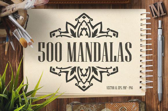 500 Vector Mandala Ornaments by pixaroma on @creativemarket