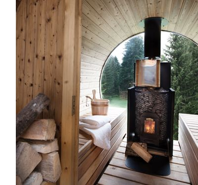 inside the wood burning sauna