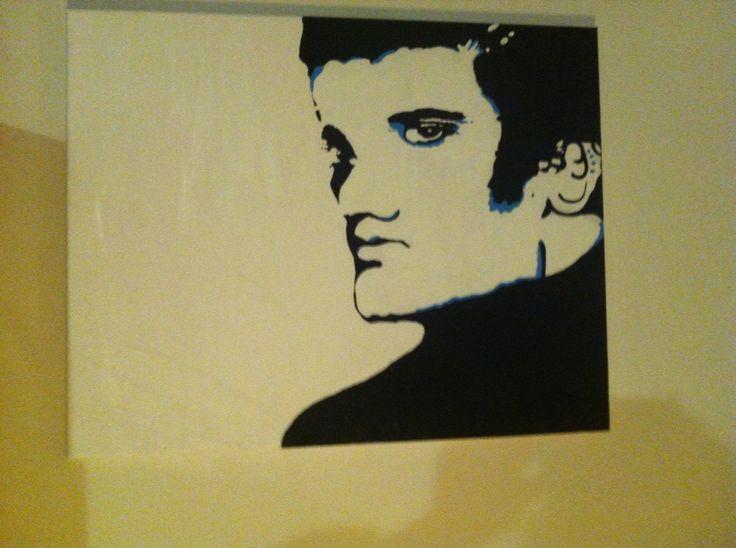 Elvis Presley black and white acrylic paint art