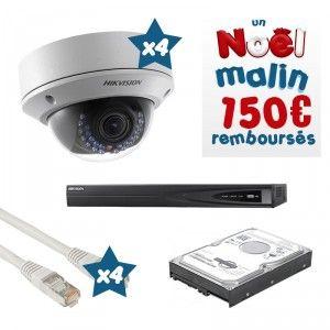 Pack vidéosurveillance HD 4 caméras dômes - Promotion Noël Malin - contenu du pack : 1 Enregistreur numérique 4 voies NVR HIK 4 caméras dômes varifocales HIK 4 câbles Ethernet 30m 1 disque dur 500Go 1 autocollant dissuasif La notice d'utilisation