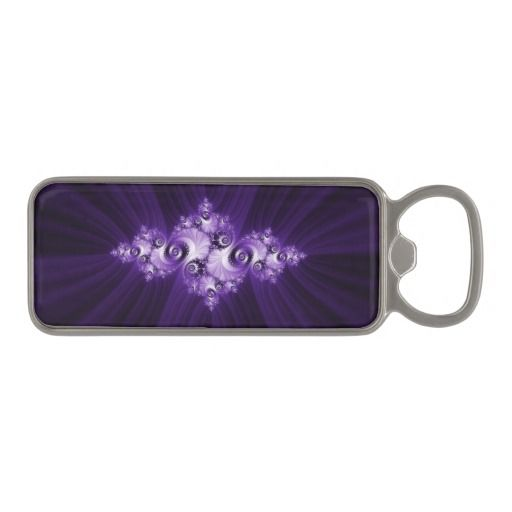 magnetic bottle opener #bottleopener White Julia fractal on purple background. Beautiful pattern. Lilac lace. Feminine style. Good gift for girls and women. #sale #giftideas #zazzle #gifts #trendy #stylish #unique #artwork #girly #abstract #pattern #fractal #mandelbrot #julia #elegant #feminine #purple #lilac #violet #white #beautiful #pretty #dark #vintage #saturated #lace