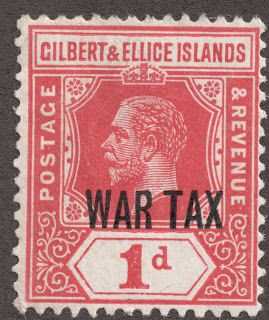 """1918 Scott MR1 1p scarlet The War Tax overprint of 1918 was also a wmk 3, Die I design. For a refresher on the Die I/Die II differences, see the Fiji blog.  http://bigblue1840-1940.blogspot.com/2011/10/fiji.html  I will also revisit the Die I/Die II variations with the """"Gold Coast"""" blog; next to be published."""