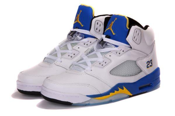 Air Jordan 5 V Retro A White/Royal Blue/Yellow Men\\u0026#