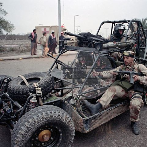 Navy Seals on a mission in their desert patrol vehicle during operation desert storm 1991. These DPV's had M60s mounted on the front and back. In this particular photo they are using M60e3's #M60 #M60e3 #desertstorm #NavySeals