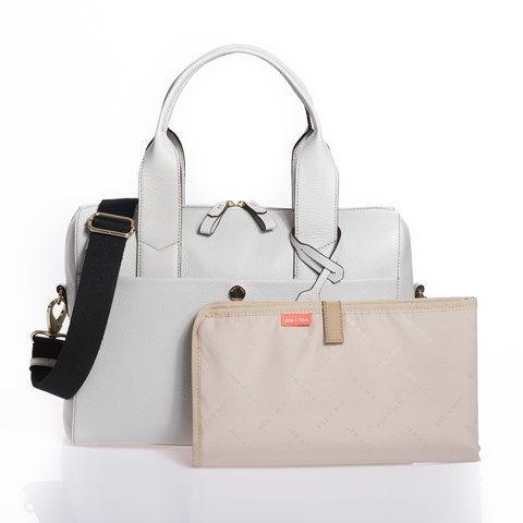 Jem + Bea Grey Leather Amber Changing Bag