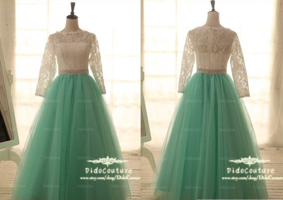 I am so in love with this! Custom Made Long Sleeves Prom Dress Lace Tulle Ball Gown Mint Skirt Formal Wedding Dress Homecoming Dress on Etsy, $259.00