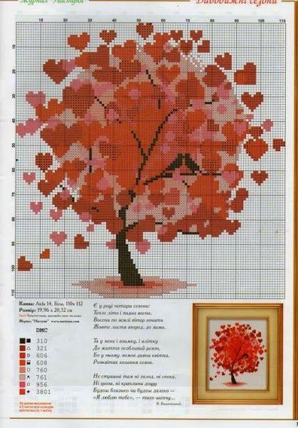 Hobby lavori femminili - ricamo - uncinetto - maglia: schema punto croce albero cuori3