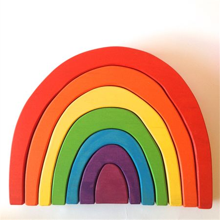 Large handmade wooden rainbow stacker (7 Piece) by One Spotty Dog