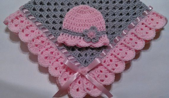 Hand-crochet granny square crochet baby blanket baby hat pink and gray girl newborn gift