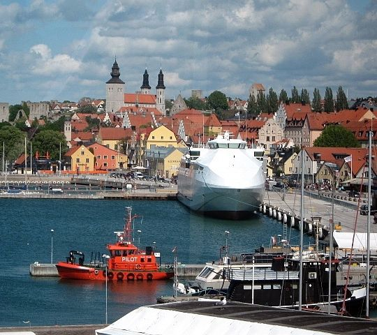 The Port of Visby where all the ferries come and go. Visby has a population of about 22,600. Gotland's (pop 57,600) the largest island in Sweden