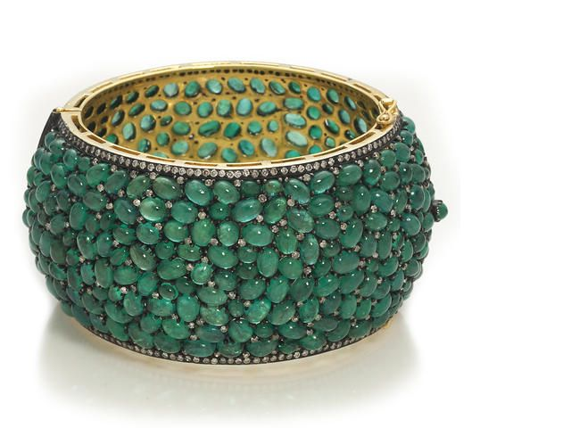 An emerald and diamond wide bangle bracelet: Emeralds, Emerald Encrusted, Diamonds, Cuffs Bracelets Bangles, Bangle Bracelets, Diamond Bangle, Diamond Wide