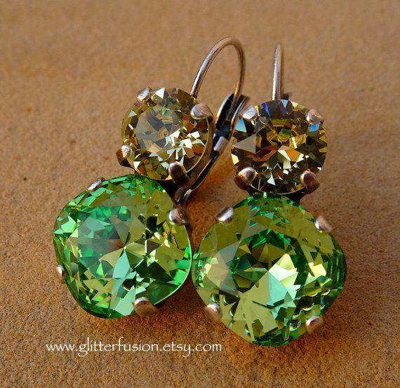 3834fdf5a487e Peridot & Jonquil Swarovski Crystal Statement Earrings, Colorful ...