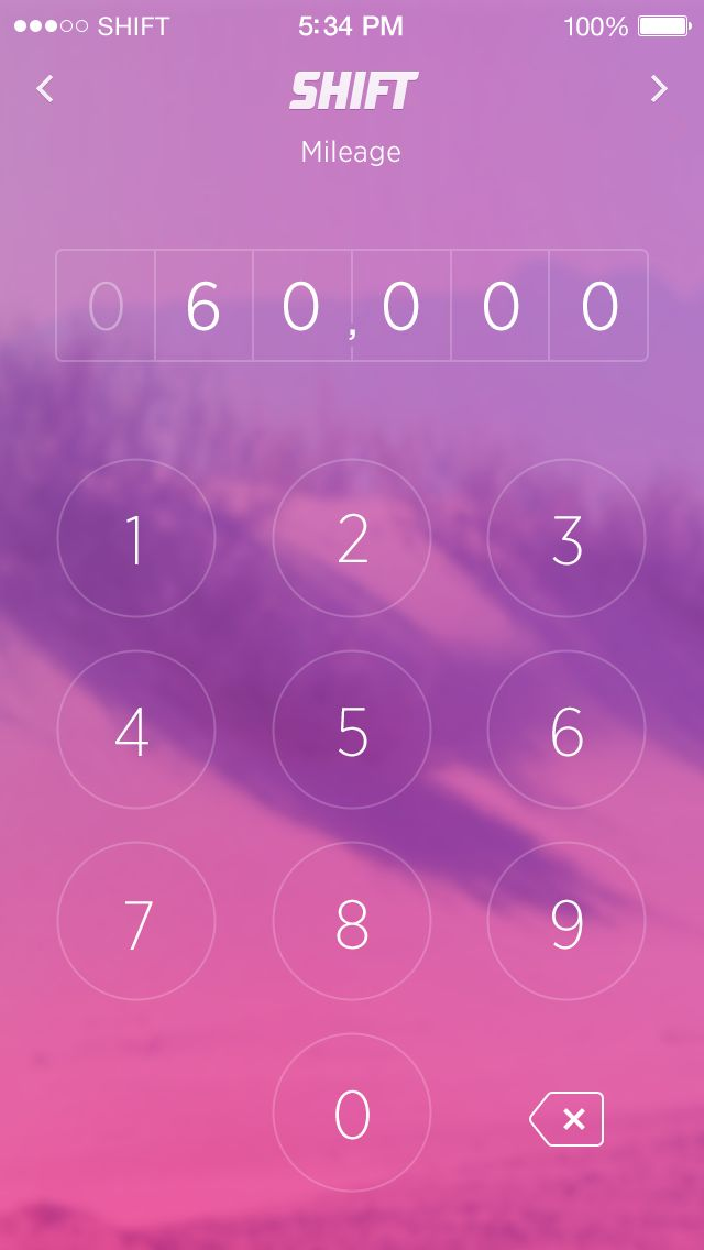 Mileage Keypad Screen