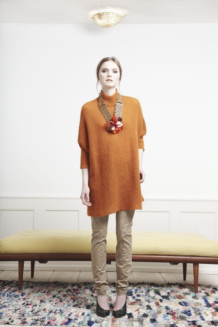 Rützou pumpkin orange quirky mohair sweater and latte brown pants