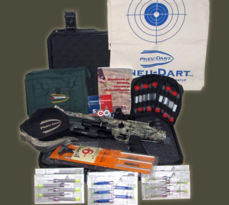 pneu dart animal control x2 short range premium package x 2 gauged co2 pistol hard shell gun