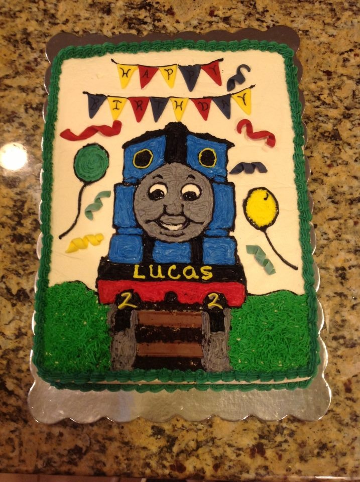 thomas the train sheet cake