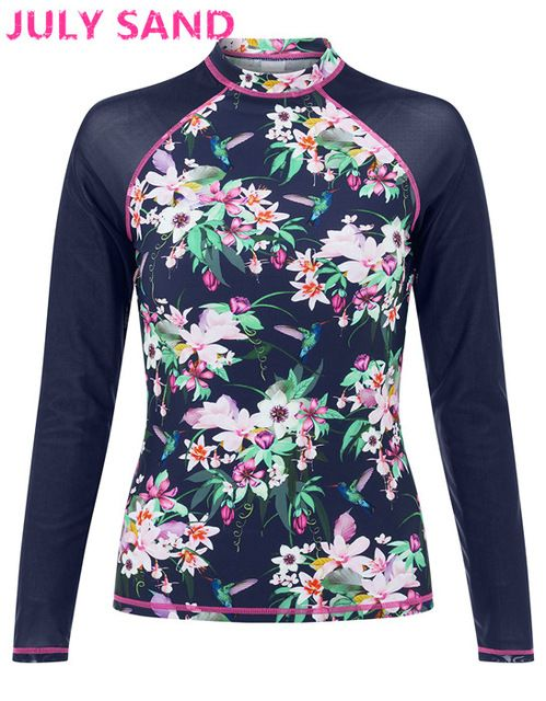 371880e75fe225 July sand sexy Women rash guard Swimwear Surfing Long Sleeve Swimsuit with  floral print 397938