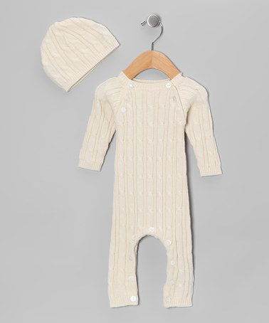 Take a look at this Cream Playsuit & Beanie - Infant by Tadpoles on #zulily today!
