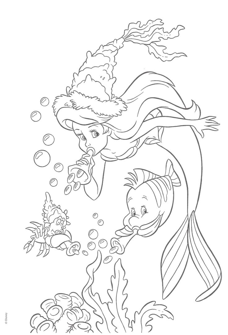 Little mermaid disney ariel coloring pages - Mermaid Coloring Pages Birthday Party