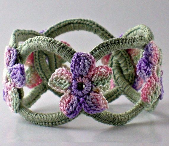 Crochet Bracelet Fiber Bracelet Chainmail Bangle Sage with Flowers - viaNothingbutstringon Etsy.