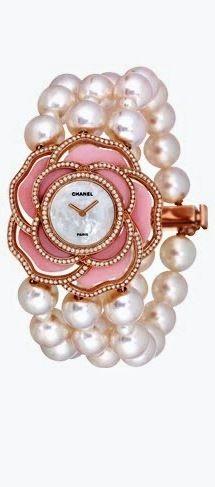 Chanel ~ Pearl Watch 18K pink gold, pink opal, diamonds ✿⊱╮/ Hermoso reloj de punño con caja en forma de rosa y brazalete de perlas. #Chanel