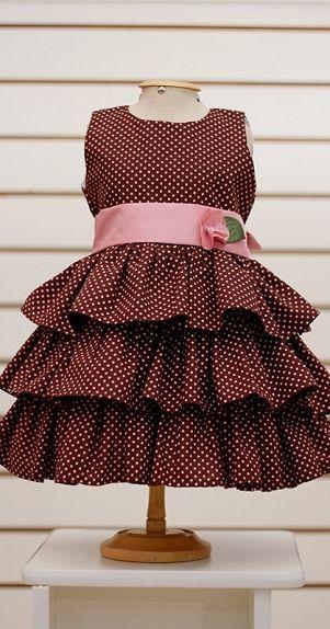 Vestido babadinho Poá Marrom e Rosa | Loja Sabor de Morango http://www.sabordemorango.com.br/produtos-ver/vestido-babadinho-poa-marrom-e-rosa/2