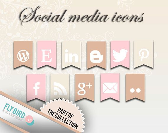 Social Media Buttons and Web Icons Sunny by FlyBirdBranding, €3.50