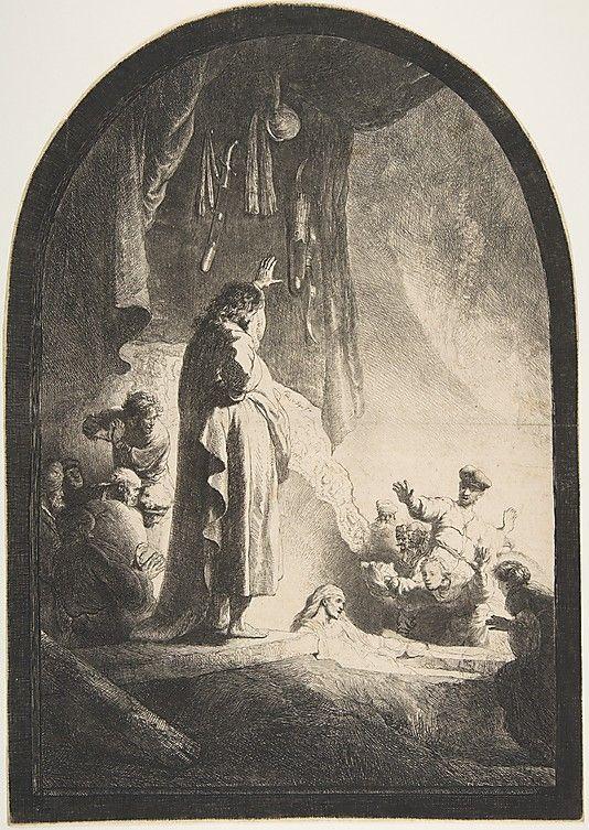 The Raising of Lazarus: Large Plate Rembrandt (Rembrandt van Rijn) (Dutch, Leiden 1606–1669 Amsterdam)