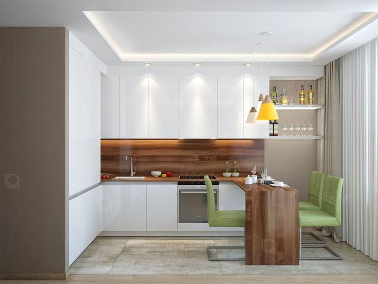 Кухня, современный стиль, кухля лак, столешница орех, декоративный кирпич