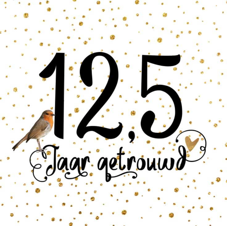 lovz | uitnodiging 12,5 jaar getrouwd hippe vierkante kaart met vogel en dots