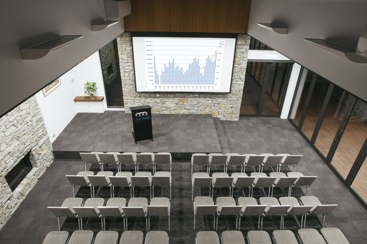 Looking down on our main plenary room from the upstairs mezzanine level at Peak Functions, Wanaka. Love this image of our theatre style set up by Nadine Cagney Photography. #conferenceinwanaka