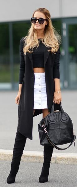 Black Ad White Casual Chic Outfit Idea by Annette Haga