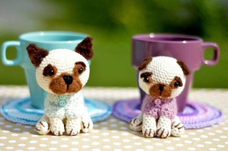 Crochet Pug & French Bulldog Coaster, Crochet Pattern, Needle Felting Pattern, Crochet Coasters by bySissi on Etsy