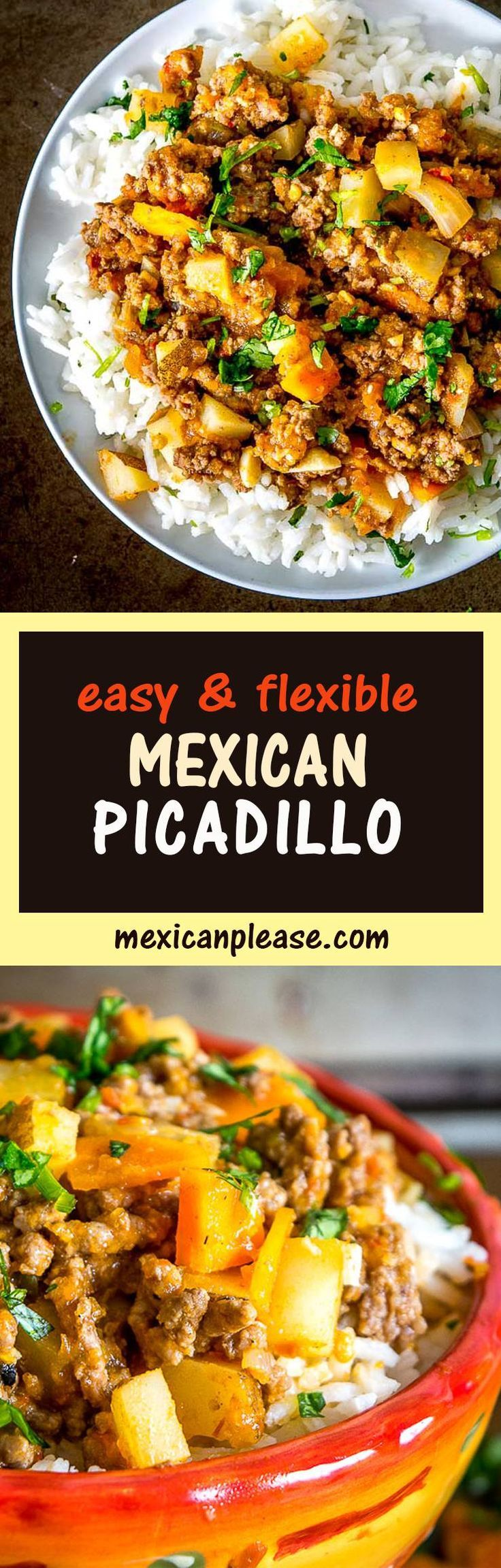 This easy to make Mexican Picadillo is a classic meat and potatoes dish bursting with flavor and spice.  It can be eaten straight out of the pan but it also works great in tacos, burritos, and empanadas.  So good!  mexicanplease.com