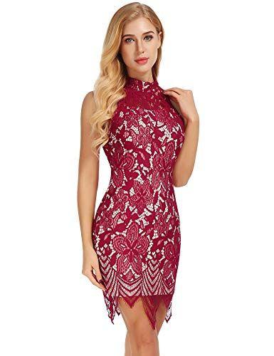 8abdba5b5c3e FISOUL Women's Sexy Backless Halter Bodycon Dress Cocktail Lace Party Midi Dress  Black L at Amazon Women's Clothing store: