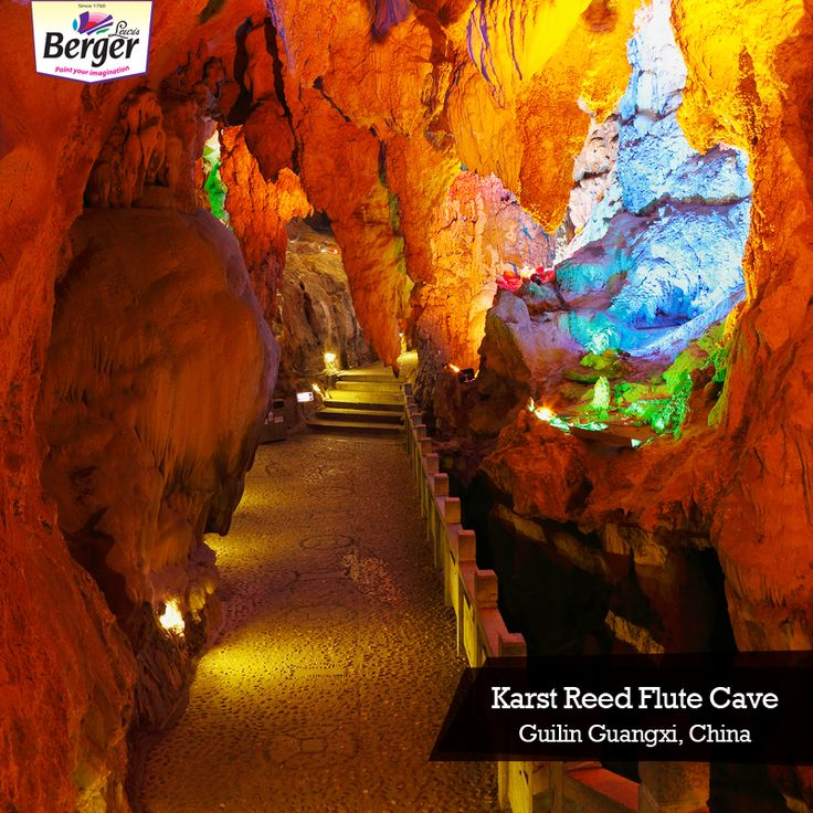Karst Reed Flute Cave in Guilin, China is a 180 million years old natural limestone cave with multicolored lighting. The coloured lights gives the stalactites, stalagmites and rock formations a dramatic look. #ColourfulWorld