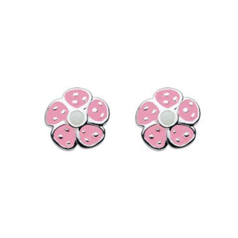 Kit Heath Kids Funky Pink Enamel Flower Sterling Silver Stud Earrings   CuteKidStuff.com