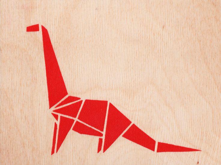 Stencil Art On Marine Plywood, Origami, Origami Dinosaur, Handmade, Spray Paint, Stencil, Home Decoration, Kids Art https://www.etsy.com/ie/shop/Stencilize?ref=l2-shopheader-name
