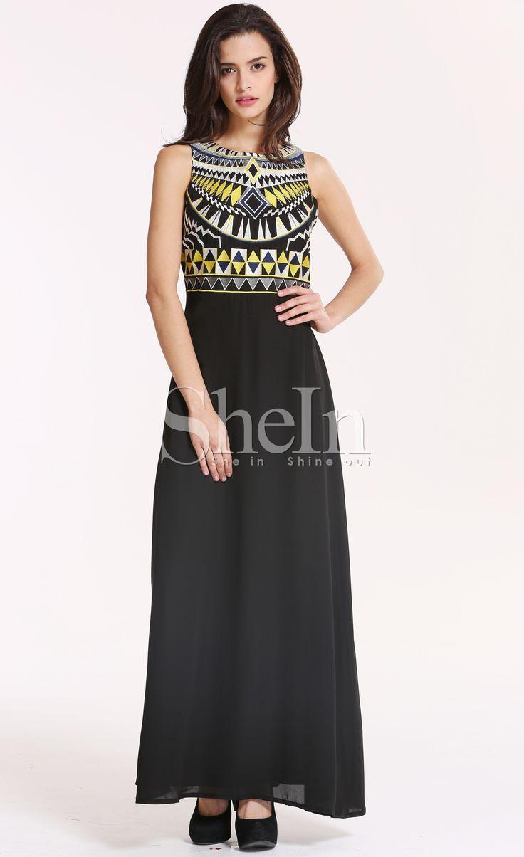 Vestido Maxi Tribal sin manga-negro 25.93