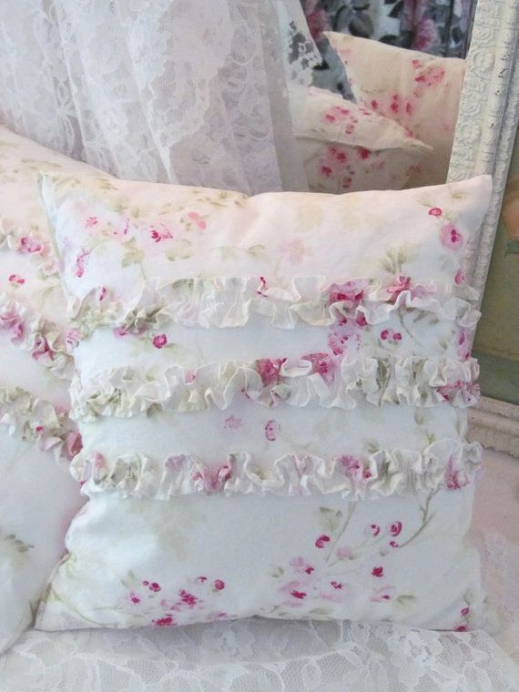 Shabby Chic Ruffle Pillow - Rachel Ashwell Pink Roses - Prairie Cottage $24