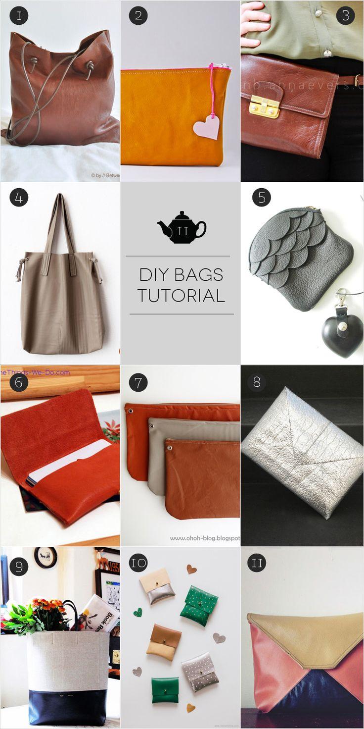 11 Tutorial pratici per realizzare borse in pelle! Invece di buttare quello che non usiamo più possiamo dargli una nuova vita riciclandolo.