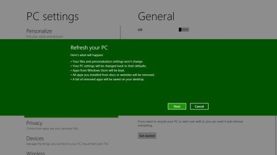 Windows 8 Refresh Feature Makes It Easy to Start With a Clean Slate #liver #tablets http://tablet.remmont.com/windows-8-refresh-feature-makes-it-easy-to-start-with-a-clean-slate-liver-tablets/  Windows 8 Refresh Feature Makes It Easy to Start With a Clean Slate One of the coolest features of Windows 8 is Refresh. Regardless of why you might want to start over, Refresh gives you a quick and easy way to start with a clean slate while also maintaining your apps, data, Windows settings, and […]