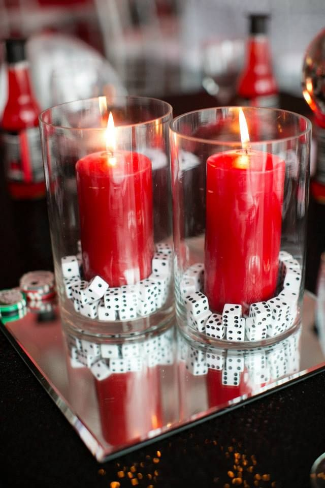 Candle centrepieces for the bar tables that will spread throughout the party---------------------The Bluft. 2014. Available:  http://thebloft.com/tag/casino-theme-party/ (Accessed 19 October 2014)