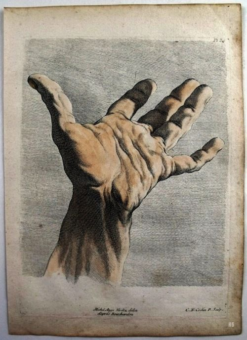 Hand Study. 1751. Charles Nicolas Cochin. French.1715-1790. colored engraving. http://hadrian6.tumblr.com