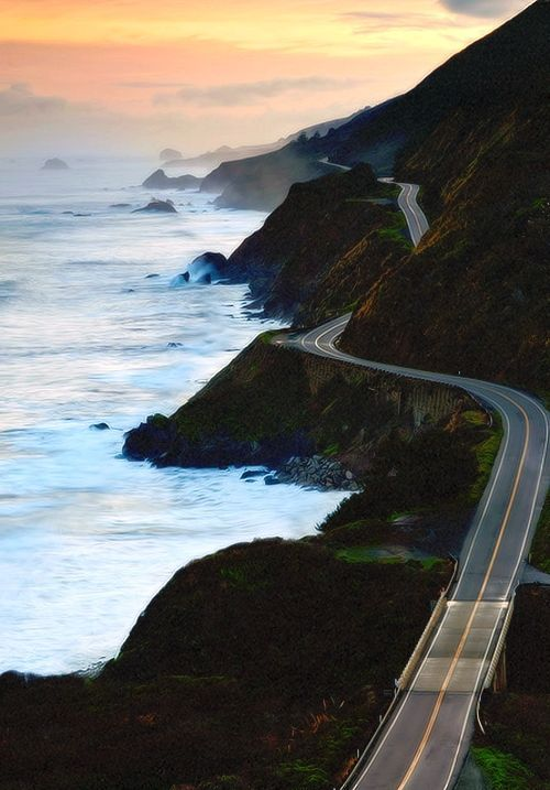 Sunset, Highway 1, Marin County, California   fantasy roadtrip   roadtrip   road   photography   road photo   mini cooper   mini cooper road trip   wanderlust   drive   where to go   Schomp MINI